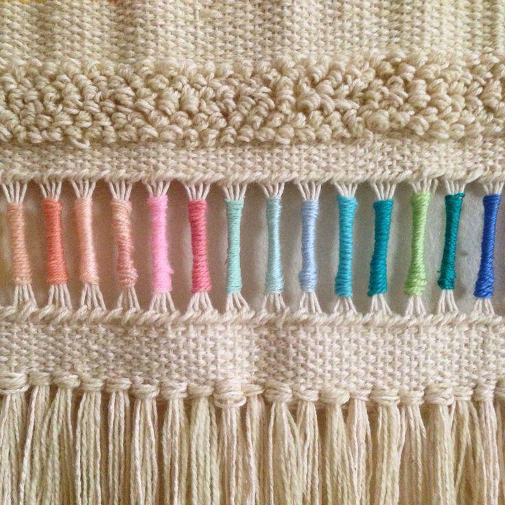 Pastel rainbow Weaving woven wall hanging tapestry by Maryanne Moodie. www.maryannemoodie.com