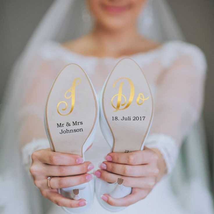 Customizable shoe sticker for your wedding on vinyl foil gold for you and him, bridal shoe, groom shoe, wedding shoe