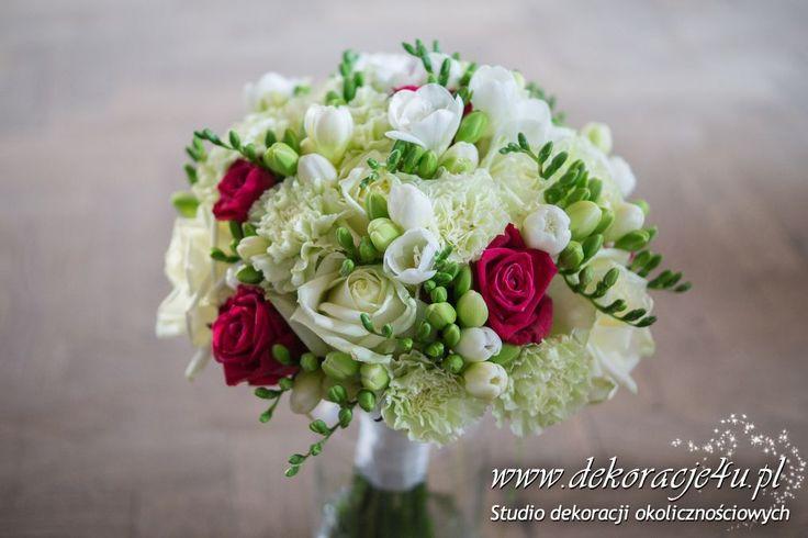 Frezja, róża, goździk - bukiet slubny - www.dekoracje4u.pl