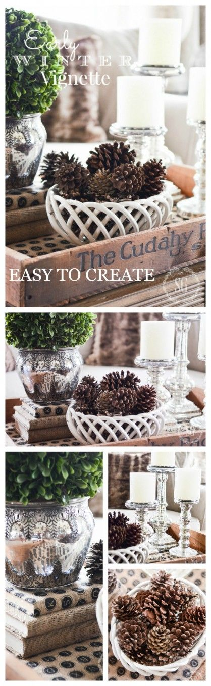 EARLY WINTER VIGNETTE-Easy to create, chic and neutral