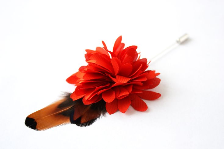 Flower and Feather Lapel Pin - Wedding Boutonniere - Orange Dahlia Flower and pheasant feathers - Dapper Men Wedding Groom by TheGreyDeer on Etsy