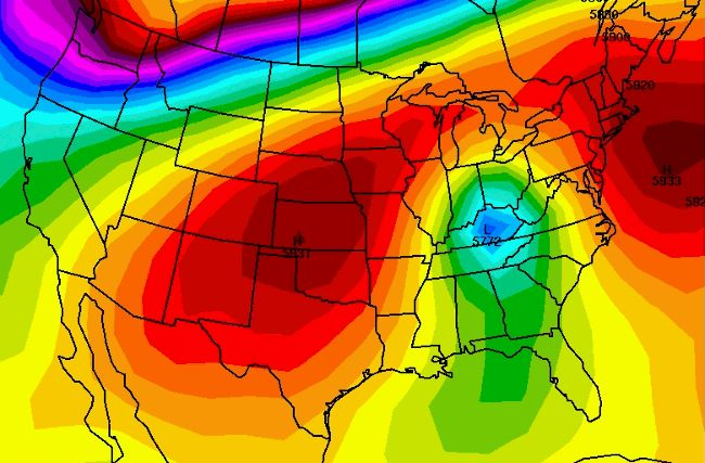 """New Species of Weather System?: July 2013 A low pressure system aloft moving backwards (east to west rather than west to east) from West Virginia to New Mexico?? Yes, in mid-July that's what this one did! You can see that in the animation above as an area labeled """"L"""" in the cooler colors, being forced to take an unusual path, the key being an exceptionally strong ridge of high pressure represented by the purple shades."""