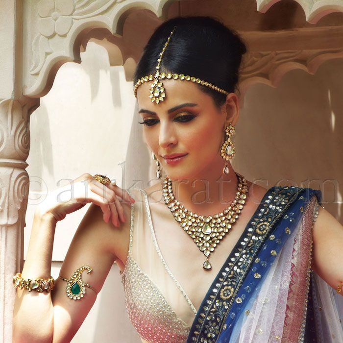 Beautiful: Kundan Jewelry Set: Matha Patti w/ Maang Tikka, Bajubandh, Necklace...Saree w/  Sheer Blouse, Desi Bride