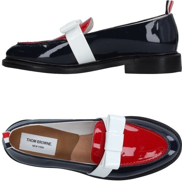 Thom Browne Loafer (53.715 RUB) ❤ liked on Polyvore featuring shoes, loafers, dark blue, leather shoes, round toe shoes, leather sole loafers, thom browne shoes and leather loafers