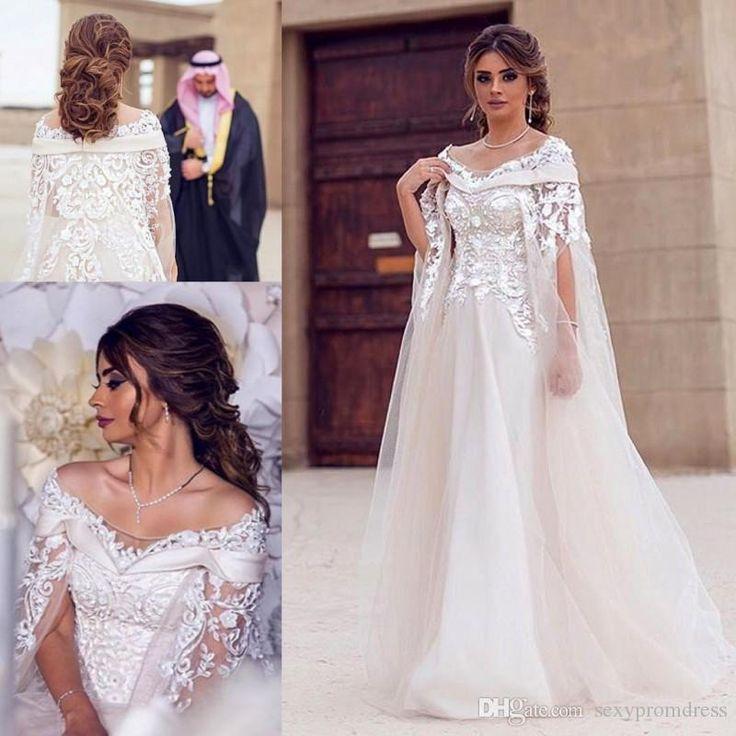 Discount Dubai Lace Cape Style Wedding Dresses 2017 Bateau Neck 3d Flower Maternity Destination Arabic