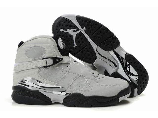 Discount 2012 New Jordans 8 Glow Vamp Grey Black White Sports Shoes Shop