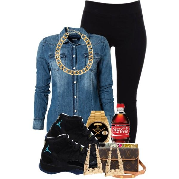 Black Tights, Denim Button-Down Shirt, Gold Chain/Earrings, Black/