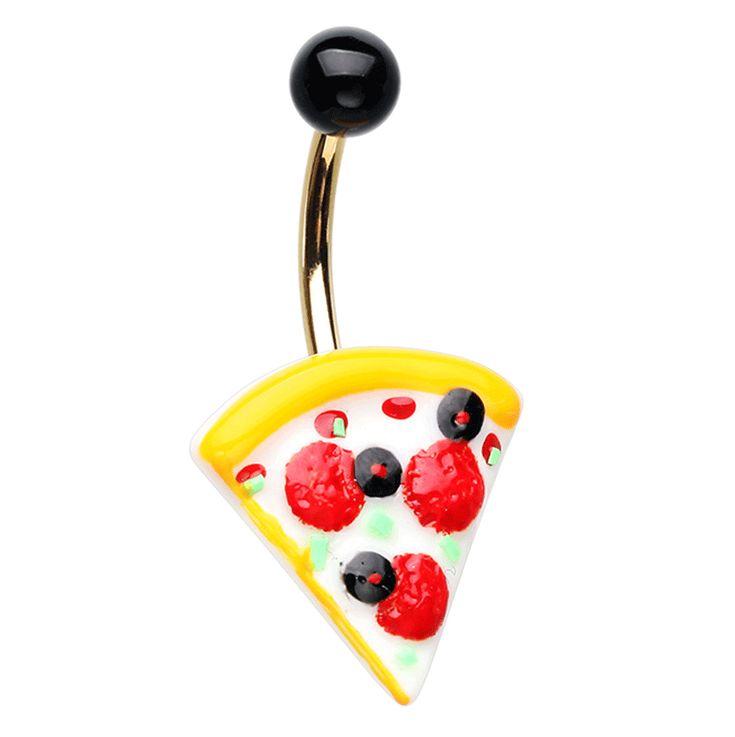 cheesy pepperoni pizza slice navel bar
