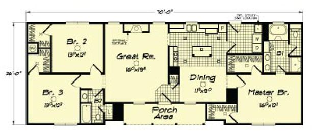 Ranch modular home floor plan with integrated front porch for Modular ranch plans
