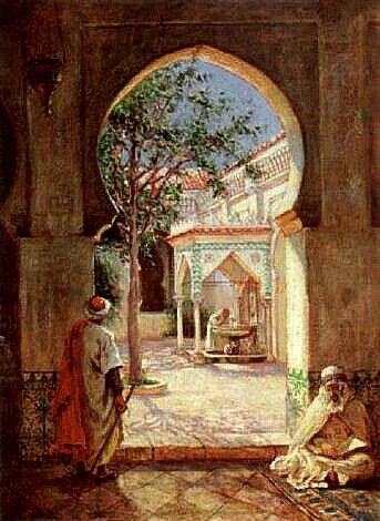 Algérie - Peintre Américain , Addison Thomas Millar (1860 – 1913), huile sur toile, Titre : Cour de la Fontaine d' Ablutions dans la mosquée El Kebir, Alger