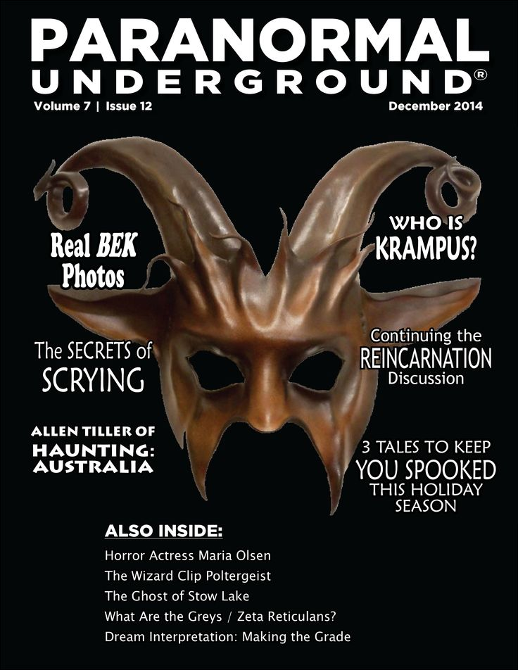 In this issue of Paranormal Underground magazine, we spotlight Haunting: Australia's Allen Tiller and horror actress Maria Olsen. We also feature two haunted cemeteries in Florida, the Greys / Zeta Reticulans, the urban legend of the ghost of Stow Lake, and the Wizard Clip Poltergeist. Other columns cover real photos of Black-Eyes Kids, reincarnation, dream interpretation, scrying, and the legend of Krampus. Visit www.paranormalunderground.net!