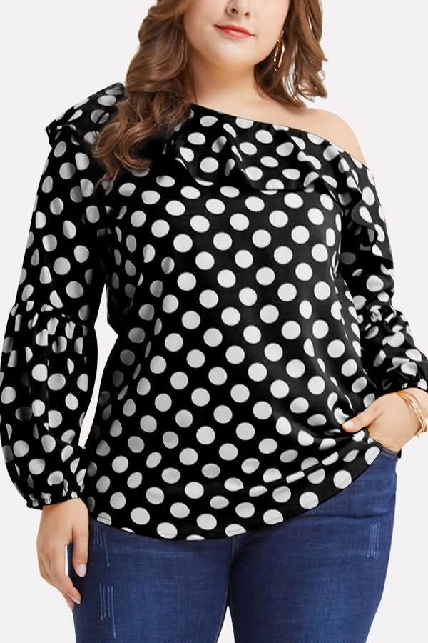 Women Black Polka Dot One Shoulder Ruffles Casual Plus Size Blouse – XXL