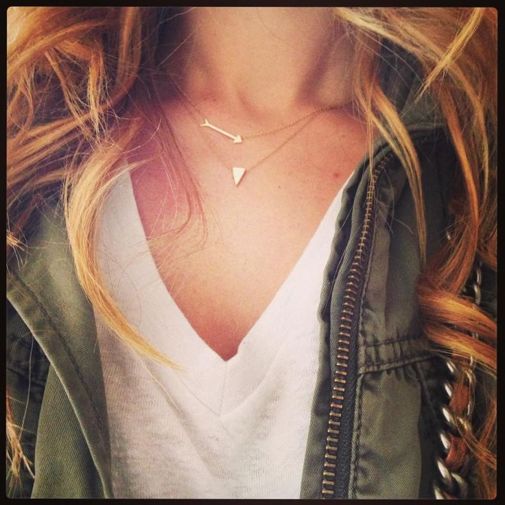 Arrow necklace and geometric necklace piled on eachother make the perfect simple layering duo. Love this simple jewelry paired with a white tee and an army jacket!
