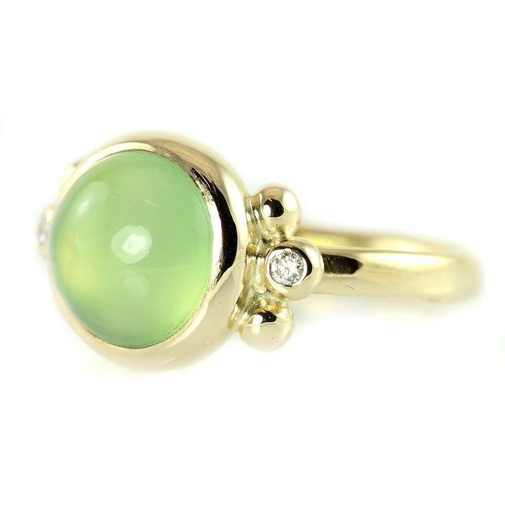 Galleri Castens - Spring - gold ring with green serpentine