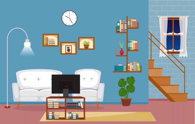 Modern Living Room Family House Interior Furniture Vector