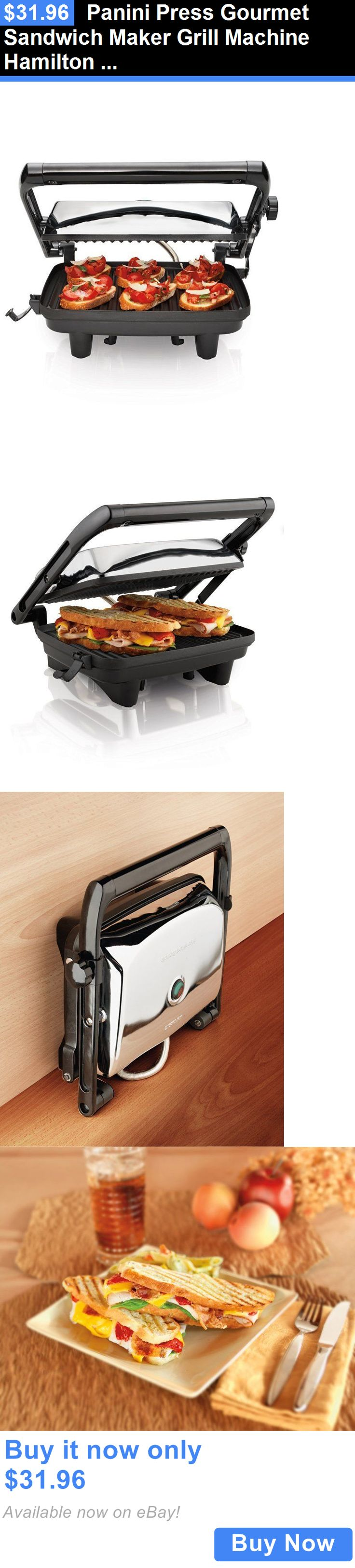 appliances: Panini Press Gourmet Sandwich Maker Grill Machine Hamilton Beach Factory Sealed BUY IT NOW ONLY: $31.96