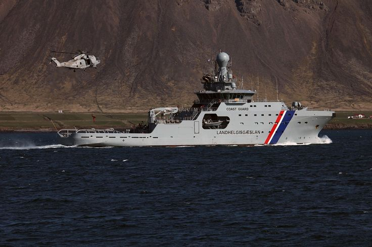 Icelandic Coast Guard Vessel Thor & EH 101 Merlin helicopter from HMS St Albans.