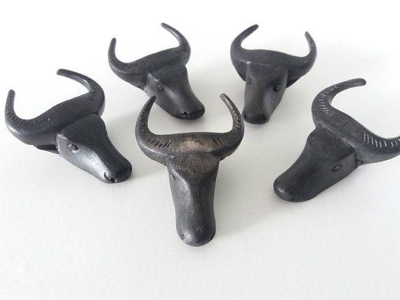 Black hand carved wooden bull napkin rings | Mid Century Southwestern decor