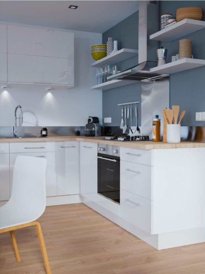 Une Cuisine Moderne Et Minimaliste Et Aux Couleurs Epurees On Choisit Des Meubles Blancs Laques P En 2020 Cuisine Moderne Peinture Meuble Cuisine Meuble Cuisine Blanc