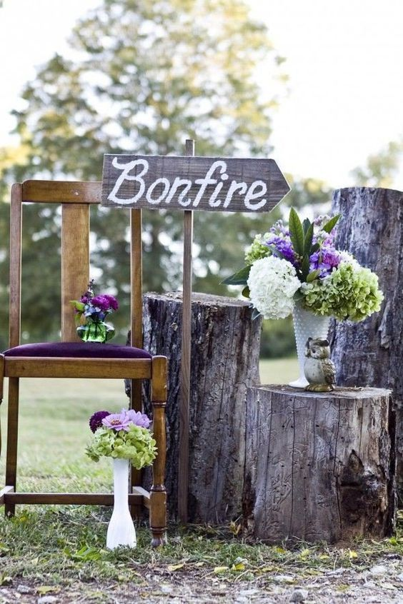 bonfire wedding sign decoration ideas / http://www.deerpearlflowers.com/camp-wedding-ideas/2/