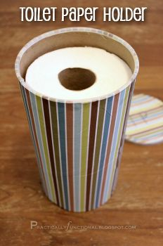 upcycled toilet paper holder bathroom storage, diy home crafts, repurposing upcycling, Cover an empty oatmeal canister in pretty paper and use it to store toilet paper in a small bathroom