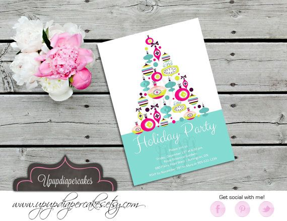 Modern Christmas Invitation--Stylish Teal Christmas Tree Invite--Holiday Party Invitation--Office Party Invitation--Printable
