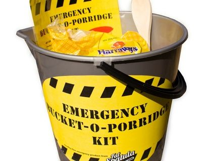 Emergency Bucket-O-Porridge Kit The Emergency Bucket-O-Porridge Kit contains: one bucket, one wooden spoon, 1.5kg of rolled oats, 500g brown sugar and a handy laminated instruction sheet. Each emergency kit makes 4 buckets of porridge ( that's a big feed). Give the gift of love - give them Bucket-O-Porridge.