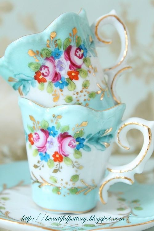 bone china aqua teacups with roses ❤