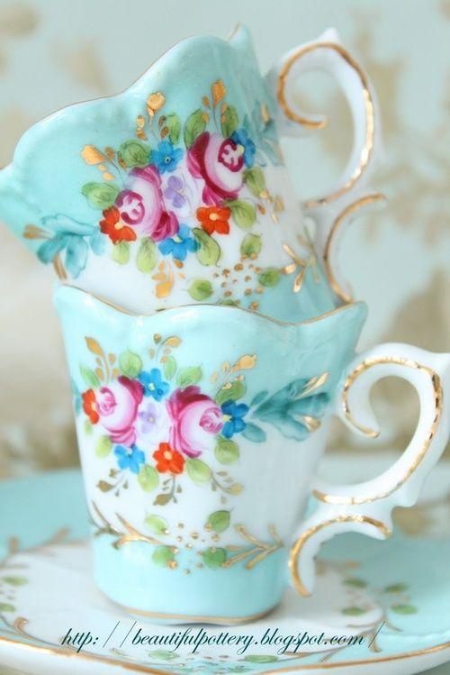 bone china aqua teacups with roses ❤