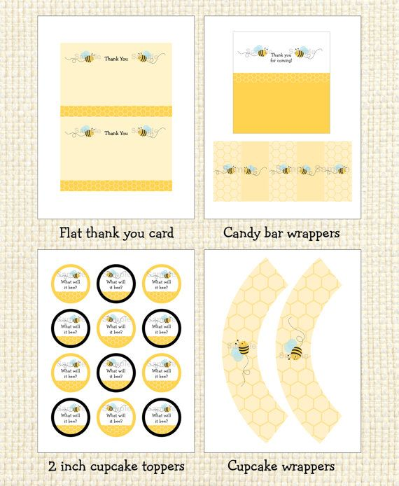 Bumble Bee Gender Reveal Printable Party Pack INSTANT DOWNLOAD