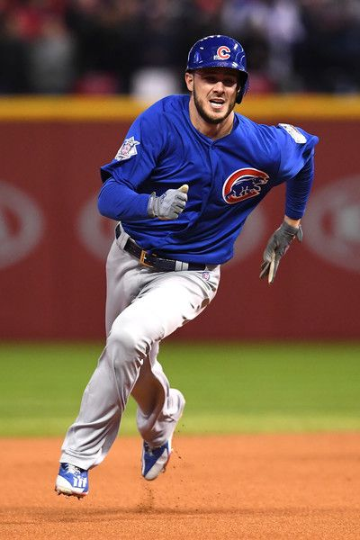 Kris Bryant #17 of the Chicago Cubs runs the bases on his way to scoring a run after Anthony Rizzo #44 (not pictured) hit an RBI double during the first inning against the Cleveland Indians in Game Two of the 2016 World Series at Progressive Field on October 26, 2016 in Cleveland, Ohio.
