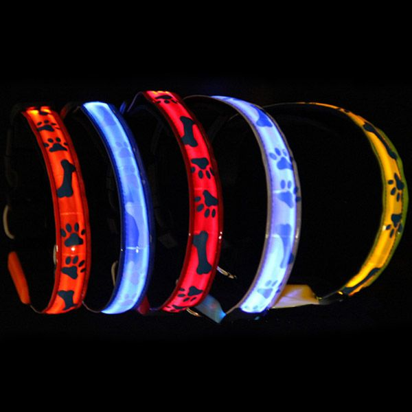 Night Safety Dog Collar Waterproof Bone LED Pet Flashing Collar
