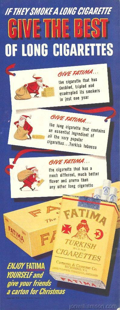 Fatima Turkish cigarettes | Tobacco retro advert| #Smoke #Posters #Ads #Tabaco #Vintage #Cigarettes #Affiches | http://defharo.com