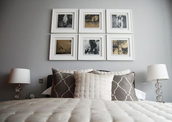 Grey Bedroom with album cover art