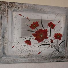 """Tableau """"bouquet abstrait rouge"""" sur fond dégradé gris"""
