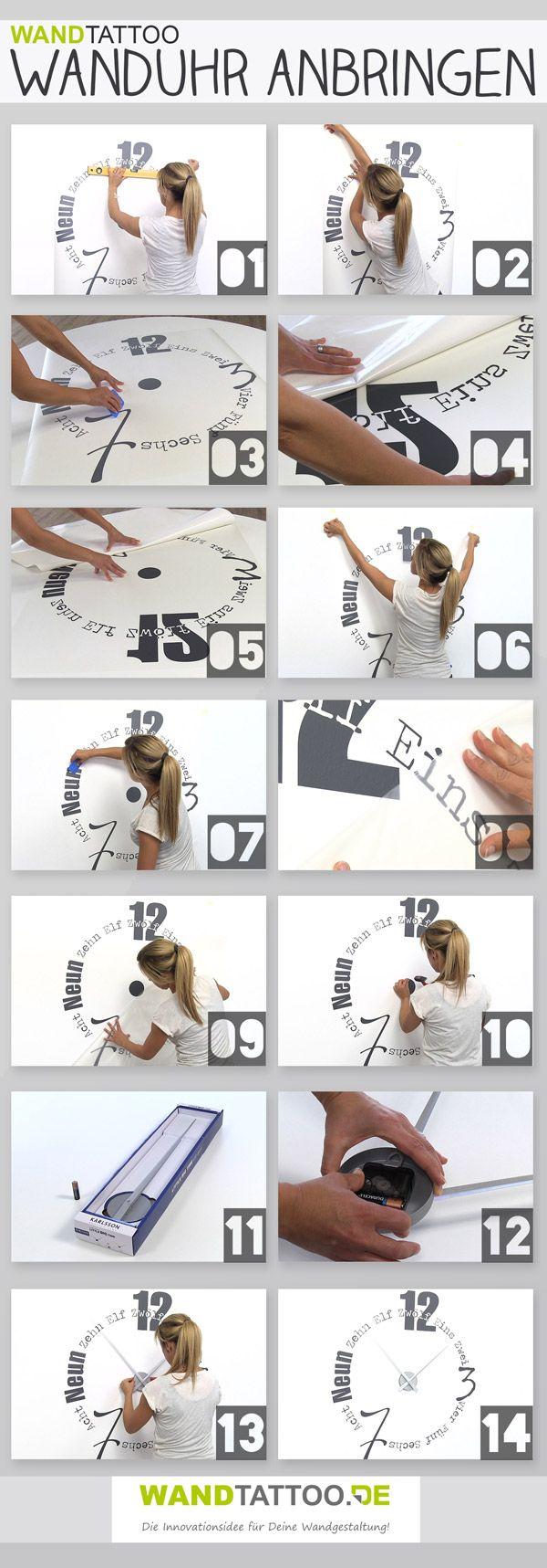 So einfach wird eine Wandtattoo Uhr angebracht. Eine ausführliche Anleitung mit Bildern und Video findet ihr in unserem Ratgeber auf WANDTATTOO.DE :)