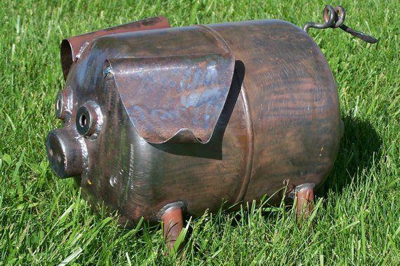 "9/"" Recycled Metal Mini Pig Yard Art Lawn Decor"