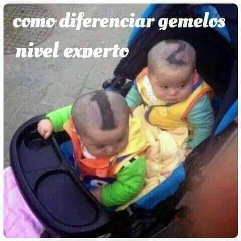 Tip para diferenciar a tus gemelos jajajajaja