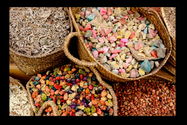 A peek of the spices available in to the chefs (or not) Marrakech.