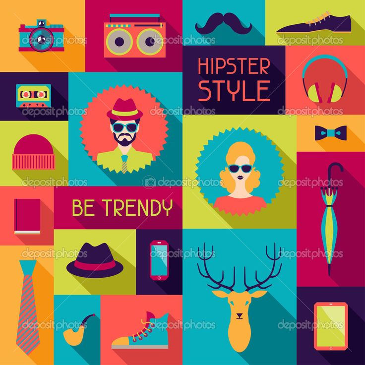 Hipster background in flat design style. - Ilustración de stock: 32024461