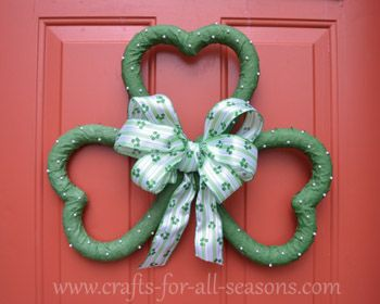 Crafts For All Seasons shares how to make this shamrock wreath to greet your guests with some Irish cheer this St. Patrick's Day.