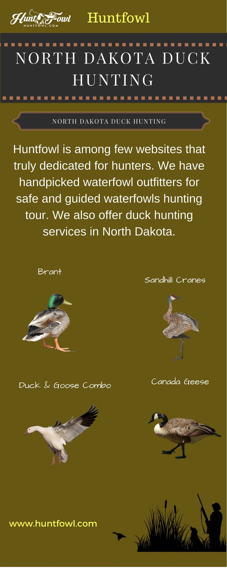 Duck hunting is a best activity for adventurous sporting.  Huntfowl.com is oldest directory for waterfowl hunting, outfitters and Guides.  The website provides safest duck hunting services in North Dakota.