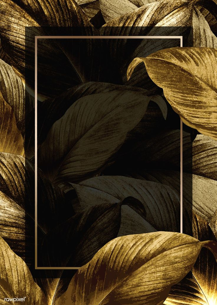 Download premium illustration of Gold tropical leaves patterned poster