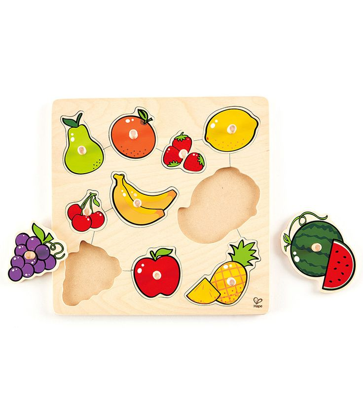 With 10 lift-out shapes, children become familiar with the names of various fruits. This Inlay Board is specifically designed for