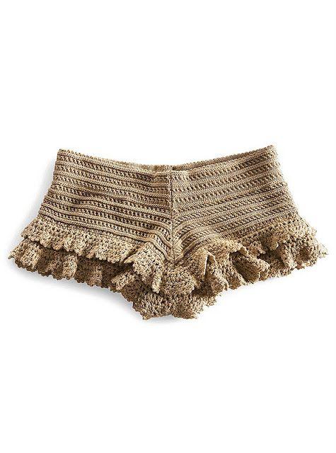 Crochet short shorts with ruffle #crochet # shorts