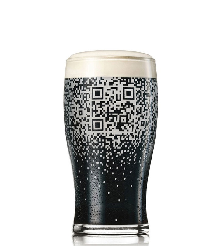 guinness QR glass. wow! sweet idea with the wrap around.