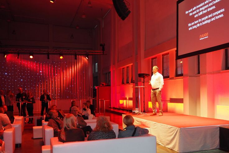 Ruukki's Anssi Lehmonen presenting at the architect party in Helsinki on 25 September 2015