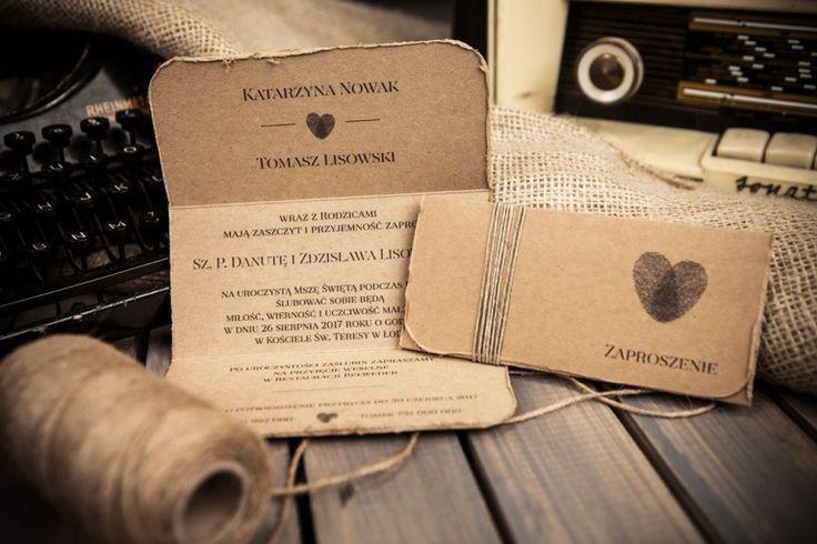 Galeria Zaproszeń, Zaproszenia Ślubne, Kolekcja Heart ...w stylu retro