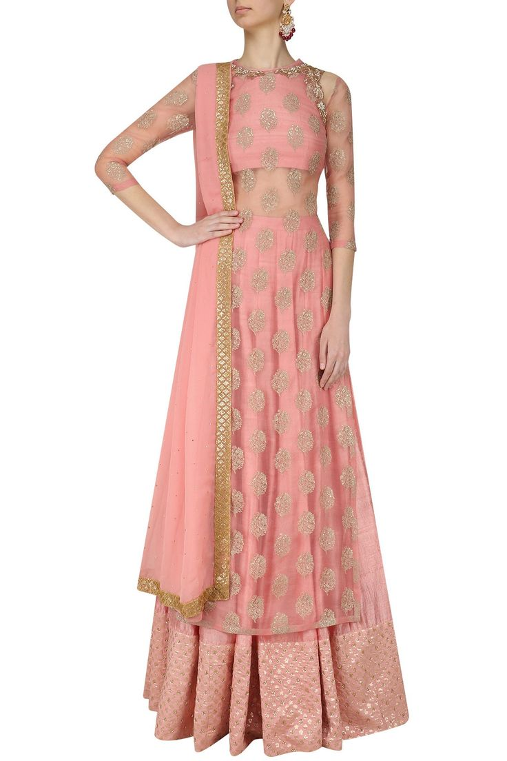 Dusty pink embroidered kurta lehenga set available only at Pernia's Pop Up Shop.