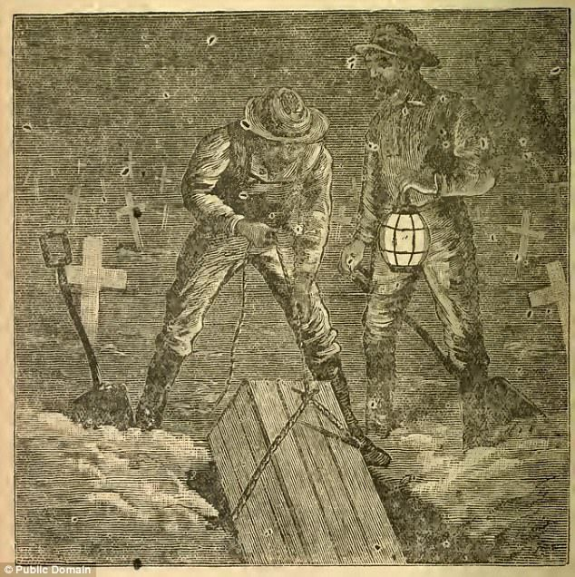 State laws passed from the 1880s to the 1910s allowed medical researchers a legal means of claiming unclaimed dead bodies and using them for medical research. Before this, they turned to the black market of grave robbery. Pictured: Grave robbers lifting a coffin from the ground